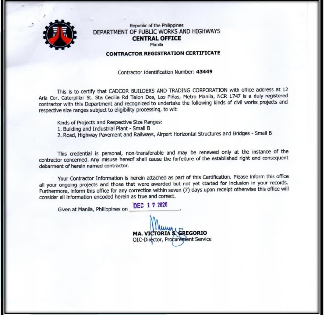 DPWH CERTIFICATE